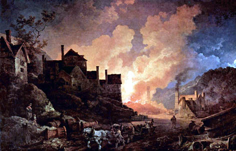 Industrial revolution the iron works at coalbrookdale at night 1801