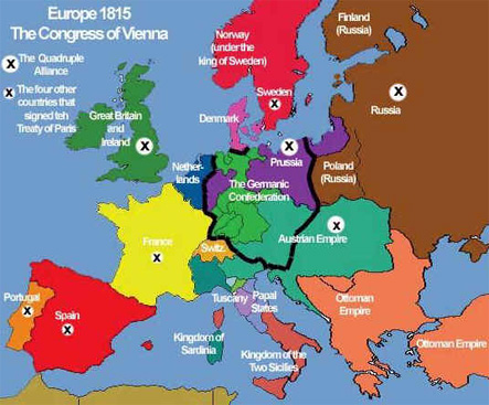 The open door web site history europe after napoleon the map showing the outcome of the congress of vienna in 1815 sciox Choice Image