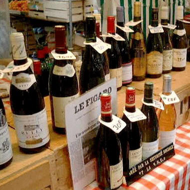 French wines on sale, Bastille Market, Paris � Shirley Burchill