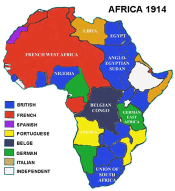 Africa Scramble Map The Open Door Web Site : History : Colonisation : The 'Scramble