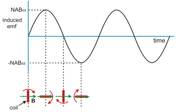 below the graph are the positions of the coil relative to the magnetic  field which correspond to maximum induced emf and zero induced emf